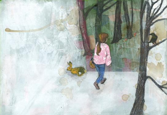 Sie ging in den Wald.