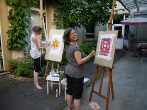 Christiane + ich beim Malen Kopie